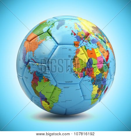 World championship concept. Soccer or football ball with world map. 3d