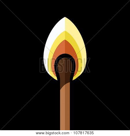 Lighted safety Match on Black Background. Vector