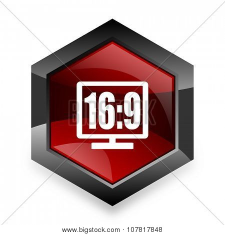 16 9 display red hexagon 3d modern design icon on white background