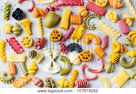 Different colorful handmade pasta variety Copy space