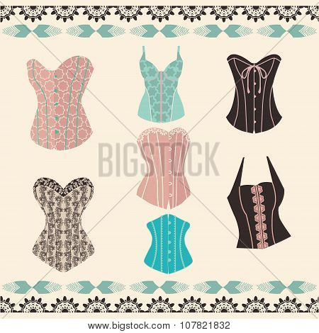 Vector Of Set Elegant Retro Style Corsets.