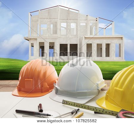 Architect Working Table And Home Construction Background