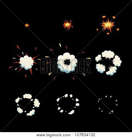 Explode effect animation  Cartoon explosion frames