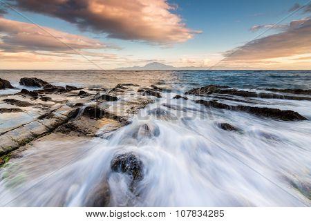 Wave crashing on the southern coast Spain. Strait of Gibraltar