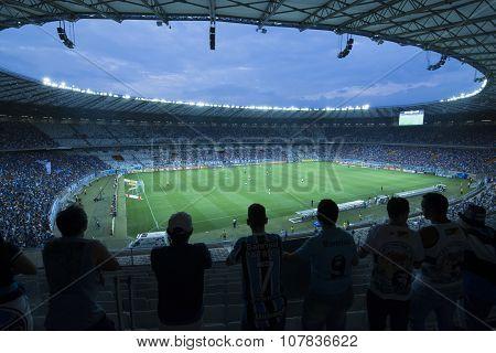Soccer Match At Minerao Stadium, Brazil