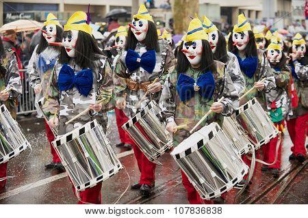 People take part in Basel Carnival in Basel, Switzerland.