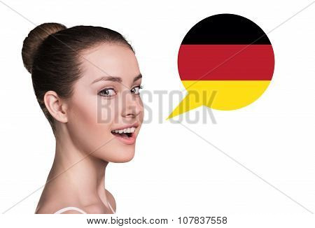 Beautiful woman speak. Bubble country flag