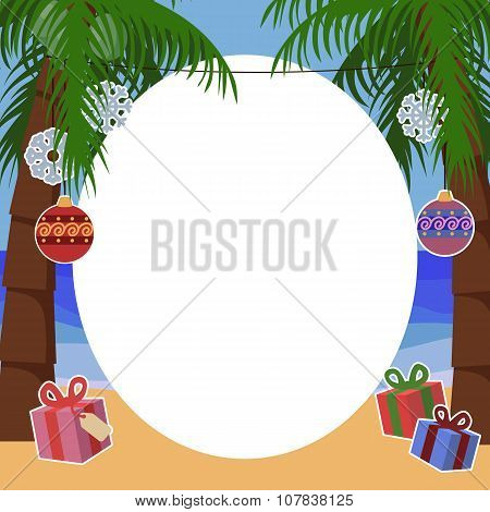 Tropical New Year Background For Text With Palm Trees