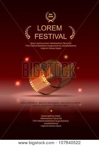 Camera film 35 mm roll gold, festival movie poster, Slide films frame,