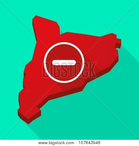Catalonia Long Shadow Vector Icon Map With A Subtraction Sign