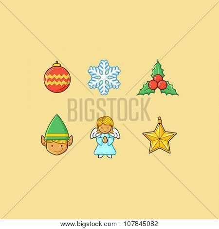 Set of christmas theme icon/objects