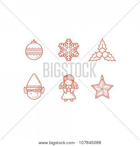 Set of christmas icon line