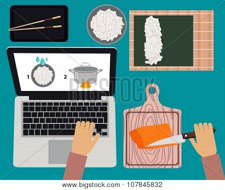 Cooking sushi maki. Online cooking courses. Vector illustration