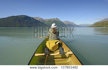 Enjoying A Calm Day On An Alpine Lake
