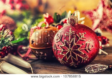 Christmas Time.Christmas candle and decoration. Christmas border design on the wooden background. Ch