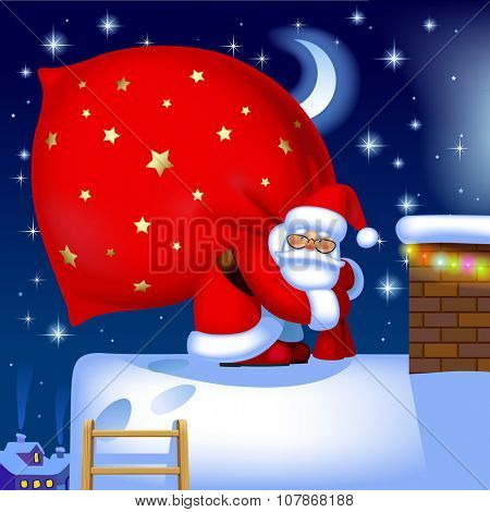 Santa Claus carrying a big red sack full of gifts on the roof of house near a chimney against the winter night background. Vector illustration