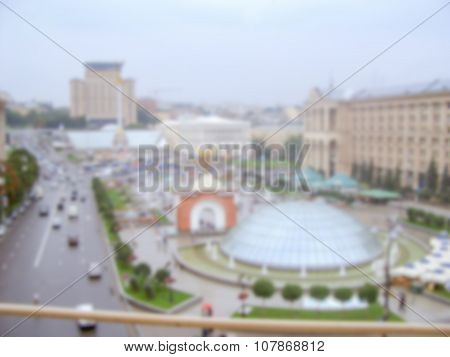 Defocused Background Of Kiev. Intentionally Blurred Post Production