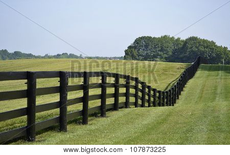 Dark brown country style fence dividing a green grassy pasture