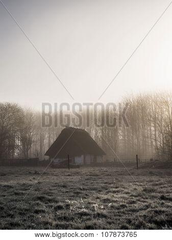 Heavy Fog Sunrise Old-fashioned Pigsty Cottage