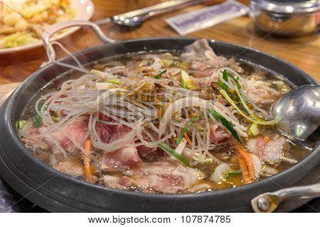 Shabu Sukiyaki Are Being Cooked In Pot