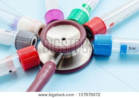 Stethoscope Tube Of Blood Tube.