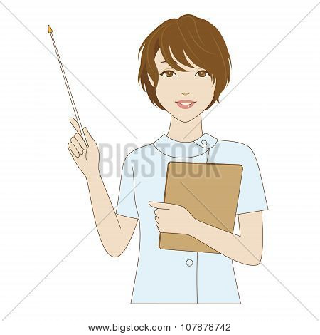 Female Dental Assistant Holding A Pointer