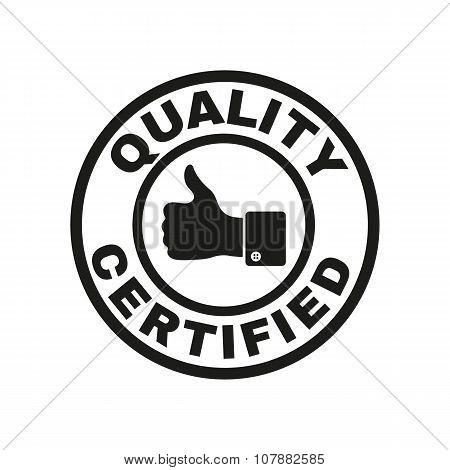 The certified quality and thumbs up icon.  Approval, approbation, certification, accepted symbol. Fl