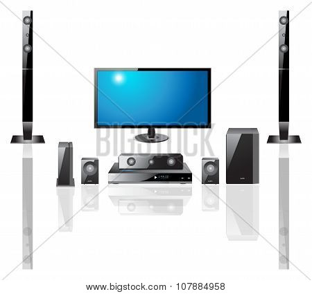 Home theater components vector illustration