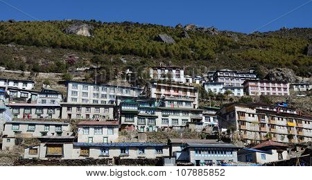 Traditional Houses Of Namche Bazaar Village, Capital Of Sherpa People,sagarmatha National Park,Nepal