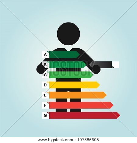 Figure Man Holds Simple Energy Label