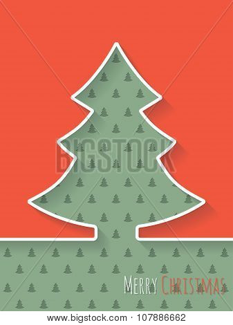 Christmas Greeting Card With White Tree And Christmastree Pattern Background