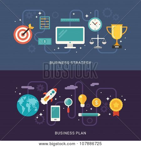 Flat Design Concept For Web Banners. Business Strategy. Business Plan