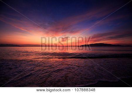 View Of Fantastic Dark Blue Red Sky Fleecy Clouds Before Sunrise