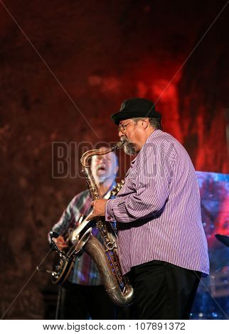 WIELICZKA POLAND - NOVEMBER 2 2015: John Scofield and Joe Lovano Quartet playing live music at The Cracow Jazz All Souls' Day Festival in The Wieliczka Salt Mine. Poland