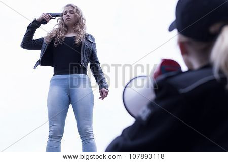Policewoman With Megaphone