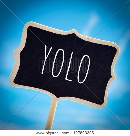 closeup of a signboard with the word yolo, for you only live once, over the blue sky, with a slight vignette added