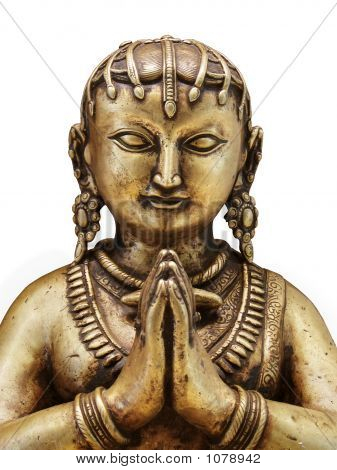 Gold Statue Of Indian Woman With Praying Hands