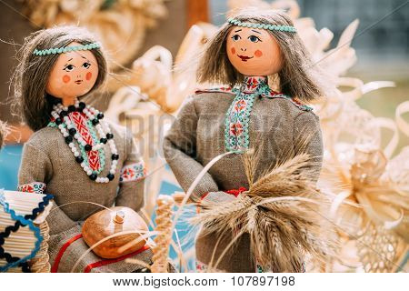 Belarusian Straw Doll. Straw Dolls Are Most Popular Souvenirs From Belarus. poster