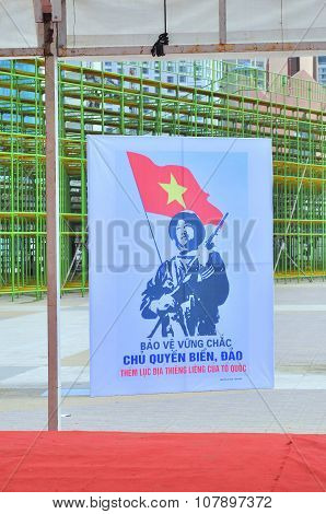 Nha Trang, Vietnam - July 11, 2015: A propaganda poster about protecting the Spratly islands in the