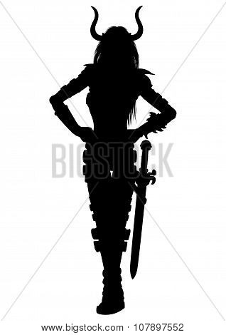 Woman Fantasy Warrior With A Sword Silhouette