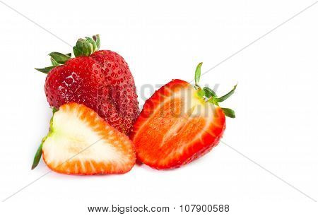 big red juicy rich strawberries with pedicle on white backgrond poster