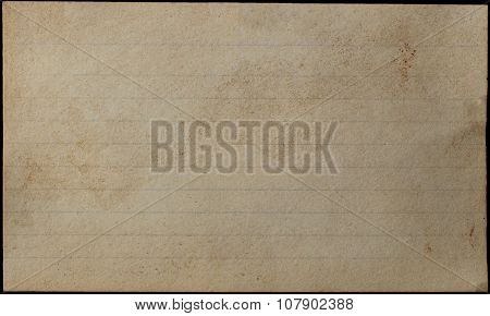 Aged And Yellowed Index Card