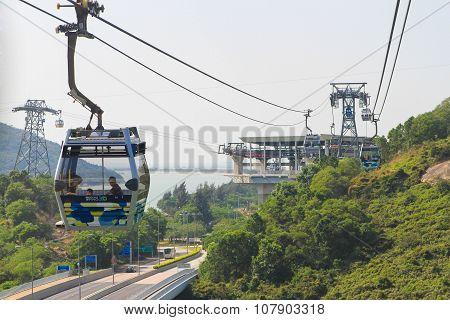 Ngong Ping 360 cable car from Tung Chungin to Lantau Island