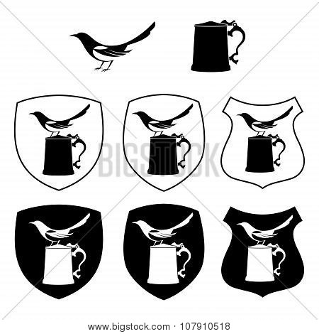 Magpie and beer mug