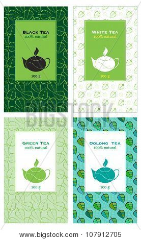Set Of Vector Illustrations Of Tea Packaging.