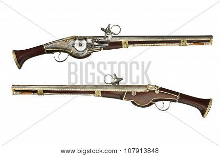 Pistols Pair Original Antique Wheelock And Flint Pistols