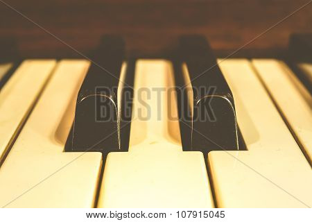 Piano Keys, Zoom In , Vintage Style