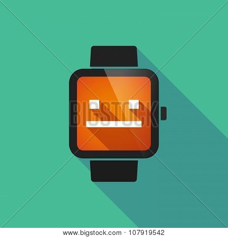 Smart Watch Vector Icon With A Emotionless Text Face