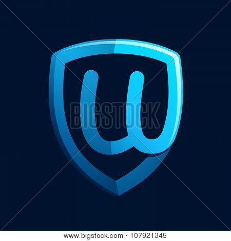 U Letter With Blue Shield.