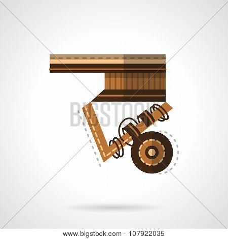 Close-up longboard flat color vector icon